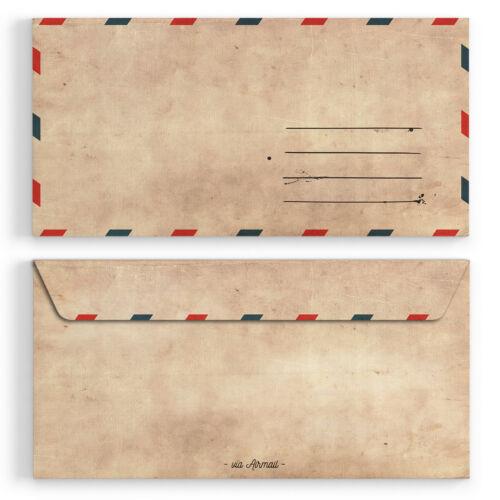 Vintage für Einladungskarten Kuvert selbstklebend alt Briefumschläge DIN-Lang