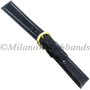19mm-Gilden-Black-Luxury-Med-Padded-Stitched-Genuine-Lizard-Round-Edge-Mens-Band