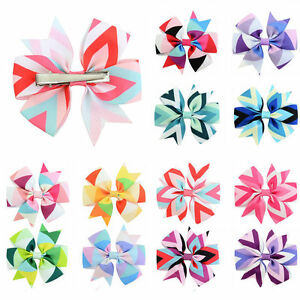 12x-Baby-Girls-Boutique-Big-Bow-Hair-Clips-Grosgrain-Ribbon-Alligator-Hairpins