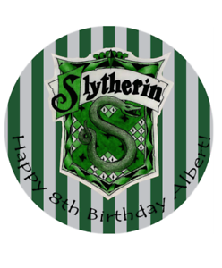 """Birthday Cake Edible 8/"""" Round Image Printed Topper Harry Potter SLYTHERIN"""