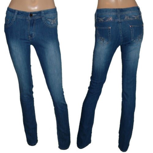 Damen Low cuT StreTch Jeans HoSe *bLue*butterfLyS* HüftjeanS Gr.36-42 #901
