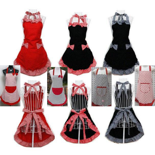 Nice Cute Vintage Flirty Womens Bowknot Kitchen Bib Apron Dress with Pocket Gift