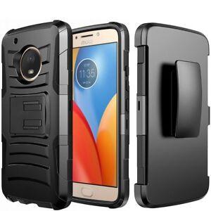 best loved bb18f 42cee Details about For Motorola Moto E4+ PLUS - Black Hybrid Hard & Soft Case  Holster + Belt Clip