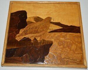 Nice Vintage Wooden Mosaic Hawk Eagle Framed Wall Art Multi Shades 8
