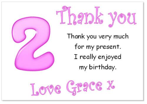 7 ans grâce Birthday Party Girl Filles TC 10 Personnalisé THANK YOU Cartes