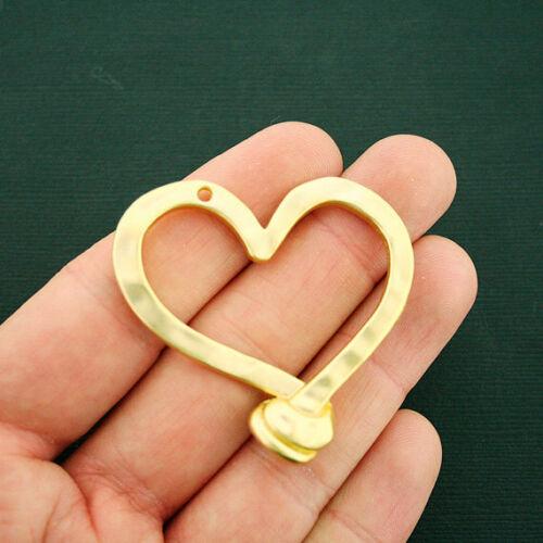 Heart Pendant Charm Gold Tone Large Size Matte Finish GC1077