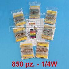 KIT 850 resistenze 1/4W set completo di resistenze 85 valori - ART. A001
