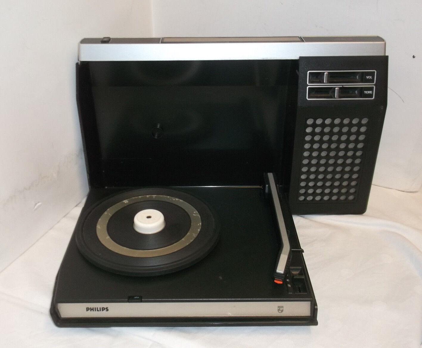60 Años 70 Philips Placa Giratoria Portable Funciona con Baterías Vintage 401