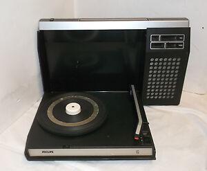 Années 60 '70 Philips Tourne-disque Portatif Fonctionnant Sur Batterie