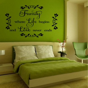 Wall Stickers Quotes Family where life begins Art Mural Home Decal AR21