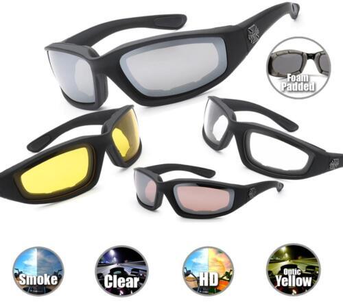 COMBO Chopper Sunglasses Motorcycle Foam Padded GogglesClear Yellow Glasses