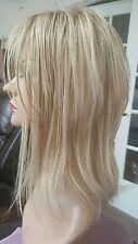 CUSTOM ORDER 100% human Hair Topper Whopper Kippah Lace front Blonde Highlights