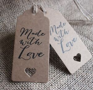 Image Is Loading MADE WITH LOVE Gift Tags Labels Kraft Rustic
