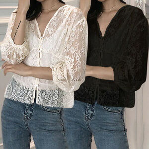 Womens-Lace-3-4-Sleeve-V-Neck-Blouse-Floral-Tops-Mesh-See-Through-Loose-Shirt