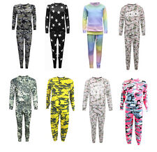 Girl's Kids  Army Camo Print Loungewear Tracksuit Jogging Set Ages 2-13yrs