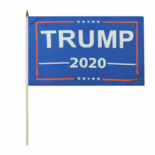 "Wholesale Lot of 12 Trump 2020 Blue 8x12 8/""x12/"" Stick Flags Wooden Staff"