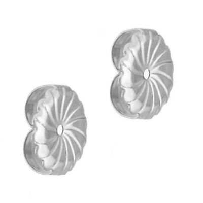 9MM Solid Stud 14k White Gold Swirl PushBack Friction Post Nut Backing Earrings