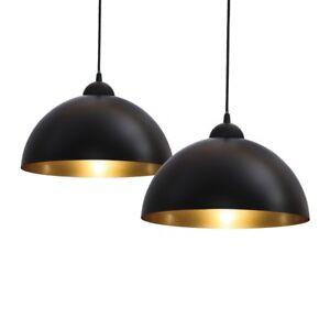 2x-Pendelleuchte-schwarz-gold-Design-Haenge-Leuchte-Decken-Lampe-Kueche-Esszimmer