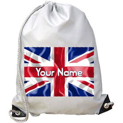 Marchio Di Tendenza Personalizzato Union Jack Bandiera Gb Palestra / Pe / Nuoto Borsa-grande Regalo Per Bambini & Denominato-