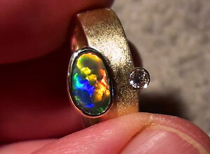-unikat In 585er Gold- Ring Mit Gem-class Blackopal Und Brillant- Mit Video !! 100% Hochwertige Materialien