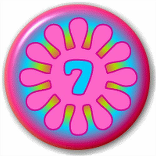Small 25mm Lapel Pin Button Badge Novelty Number 7 Flower