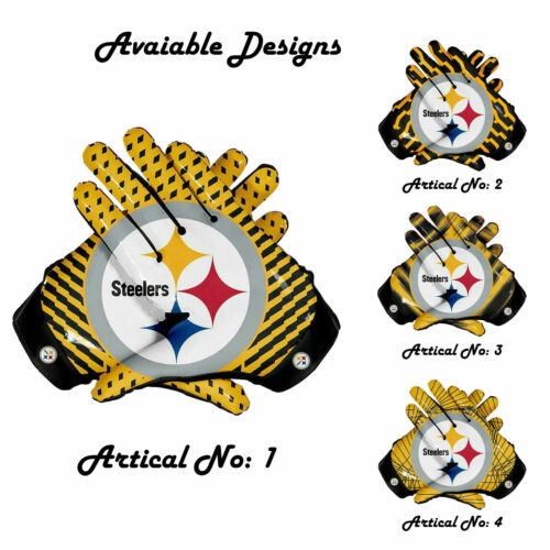 Pittsburgh Steelers American NFL Football Gloves Spider Lines Style