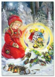 Little Girl in forest Xmas Miracle Angels SnowBall by Lisi Martin NEW postcard