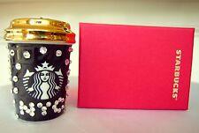 STARBUCKS New York City NYC To-Go Cup Mini ORNAMENT Swarovski Crystal + GIFT BOX