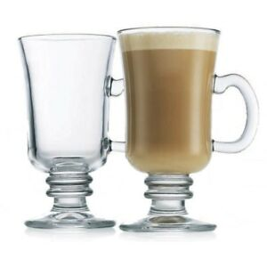 Details About Set Of Clear Glass 230ml Irish Coffee Glasses Latte Mugs Hot Chocolate Cups New