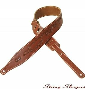 Levys-MV17T10-2-5-034-Carving-Leather-strap-with-tribal-design-Walnut