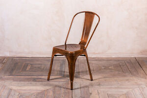 copper bronze vintage industrial tolix style metal stacking chair ebay