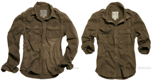 Army Tactical Surplus Vintage Mens Military Long Sleeve Casual Cotton Shirts