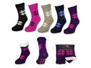 Damen-Socken-mit-ABS-Sohle-Innenfell-Huttenschuhe-Huttensocken-Kuschelsocken
