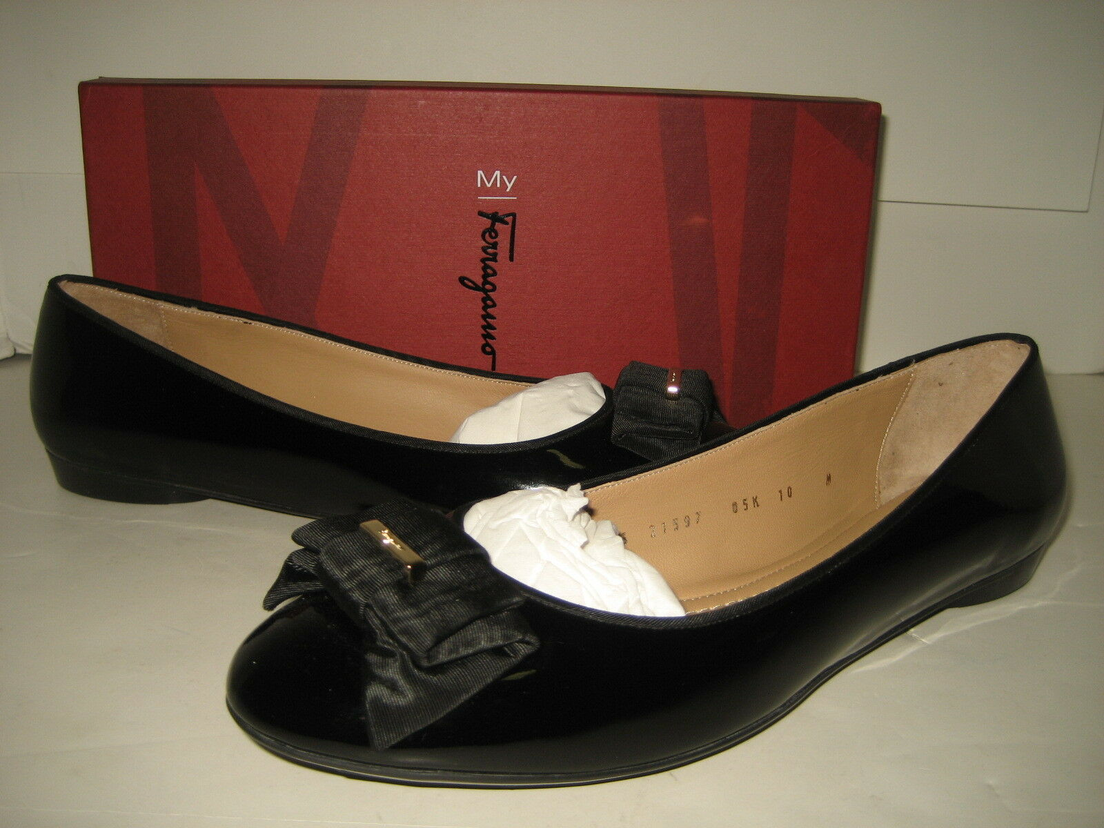 495 NEW Salvatore Ferragamo US 10 My Knot Black Leather Ballet Flats shoes BOX