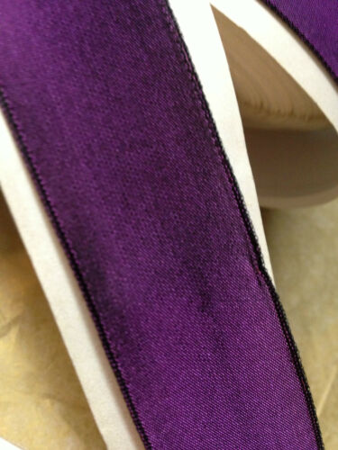 "VINTAGE 7//8/"" FRENCH RIBBON with wire SOLID 1yd PURPLE Made in France"