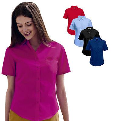 Fruit of the Loom Damen Kurzarm Bluse Freizeit-Business Poplin Shirt Hemd