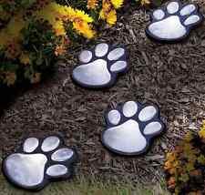 Solar Light Garden Path Paw Print Dog LED Outdoor Figurine Decor Patio Lawn Yard