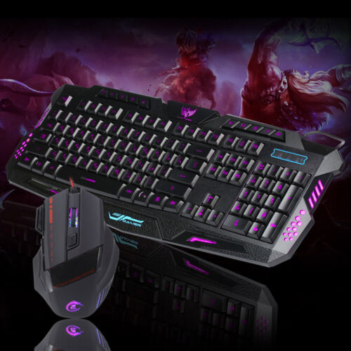Wired 2.4G Multimedia LED Gaming Keyboard 5500DPI Mouse Set For Game Lovers