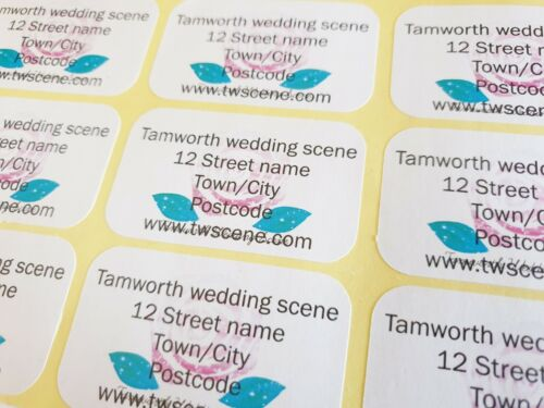 Personalised labels for businesses with logo website round or rectangle a4 sheet