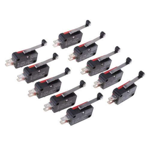 V-156-1C25 Micro Limit Switch Long Hinge Roller Momentary SPDT Pack of 10