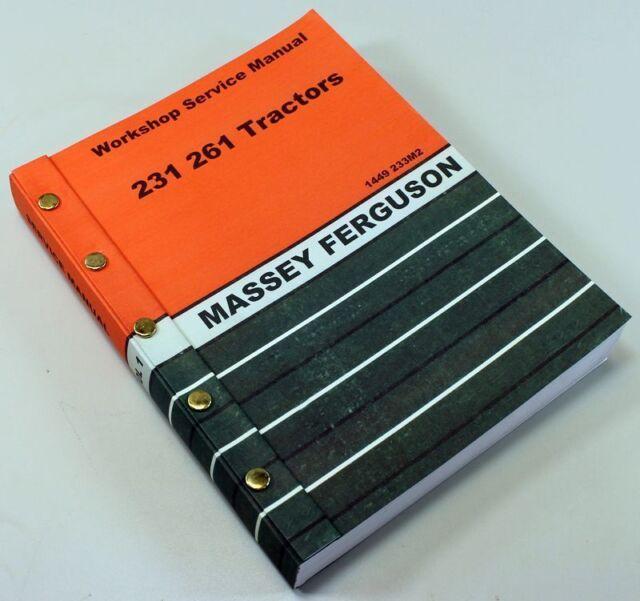 Massey ferguson 231 261 tractor service manual (mh-s-mf231 261) | ebay.