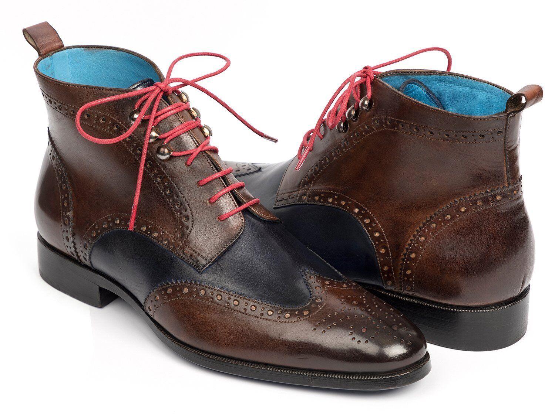 Paul Parkman punta del ala tobillo botas de dos tonos de marrón y azul zapatos hechos a mano