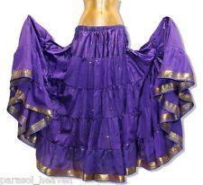 PURPLE SKIRT w/ GOLD SARI BORDER, 7 YARDS, BELLY DANCE BOHO GYPSY BEACH INDIA