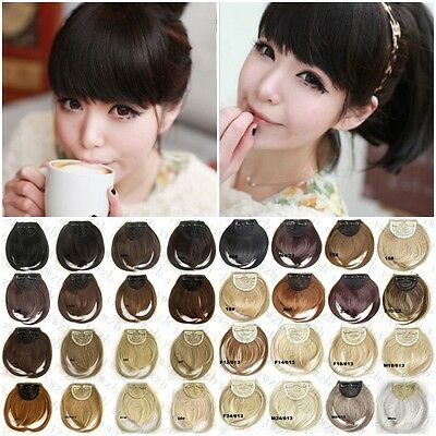 Fashion Womens Girls Assorted Colors Hair Fringe Bangs Extension With Clip Hair