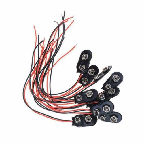 9 Volt Battery Clip Connector I Type Black w Cable Bl/_prCN Bulk 10 Pcs Snap 9V