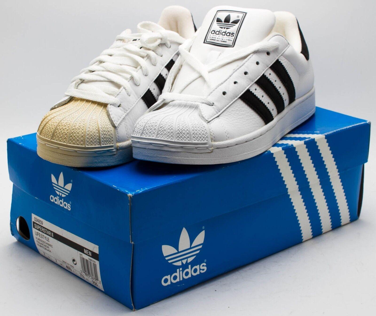 Adidas männer jahrgang 2002 superstar 2 gestürzt 034859 7.5 weiß / schwarz sz 7.5 034859 leder f0b3af