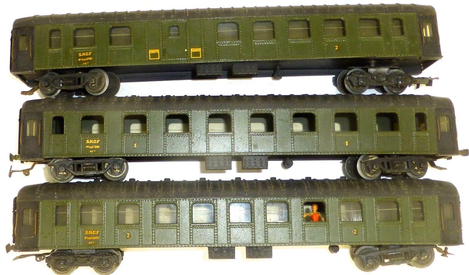 3x SNCF A myfi 50471 + 5287 Dmyi 54351 METALL Wagons H0 1 87 OVP  å