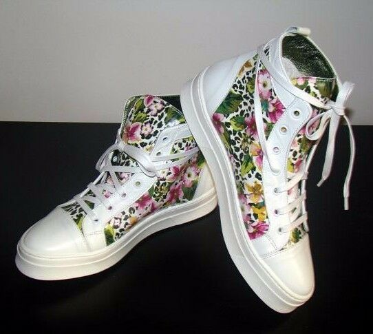 SPAZIMODA Floral Platform scarpe da ginnastica Ankle stivali Canvas High Top Canvas scarpe 38
