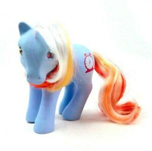 RARE-My-Little-Pony-MLP-G1-Vtg-Jewel-Twinkle-Bright-Eyed-Clock-Hasbro-Blue-Red