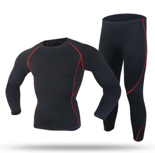 Men Sports Thermal Underwear Male Windproof Slim Fitness Fleece Keep Warm Suits